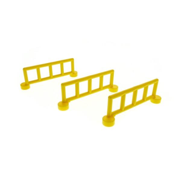 3 x Lego Duplo Zaun gelb mit 5 Pfosten Zäune Gatter Gitter Geländer Absperrung Fence für Bauernhof Baustelle Zoo 2214