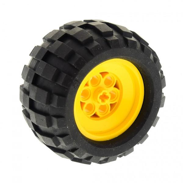 1 x Lego Technic Rad schwarz 2995 68.8x40 Q Felge gelb 2996 Technik Racing 68,8 x 40 Q Auto Fahrzeug 2996c01