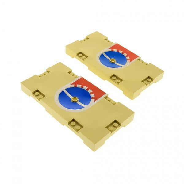 2 x Lego System Spielfeld beige tan rot 8 x 16 mit Basketball 3 Punkte Linie Aufdruck Loch für Halterung Platte Sports Field 30489pb02