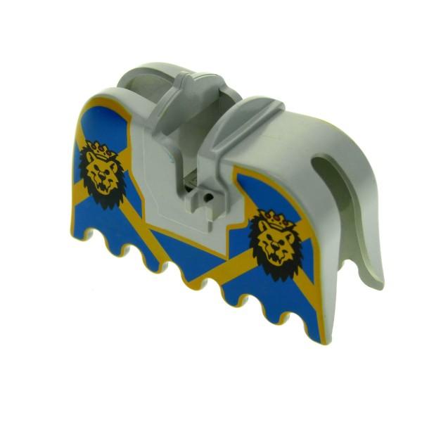1 x Lego System Pferdedecke alt-hell grau blau Wappen Löwe mit Krone Schabracke König Castle Ritter Pferd Decke Burg 2490px4