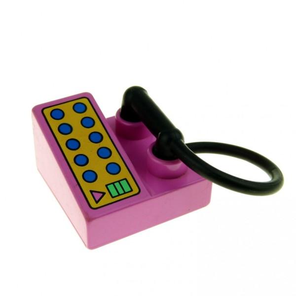 1 x Lego Duplo Telefon rosa dunkel pink 2x2 mit Hörer Puppenhaus Wohnzimmer Möbel 6489