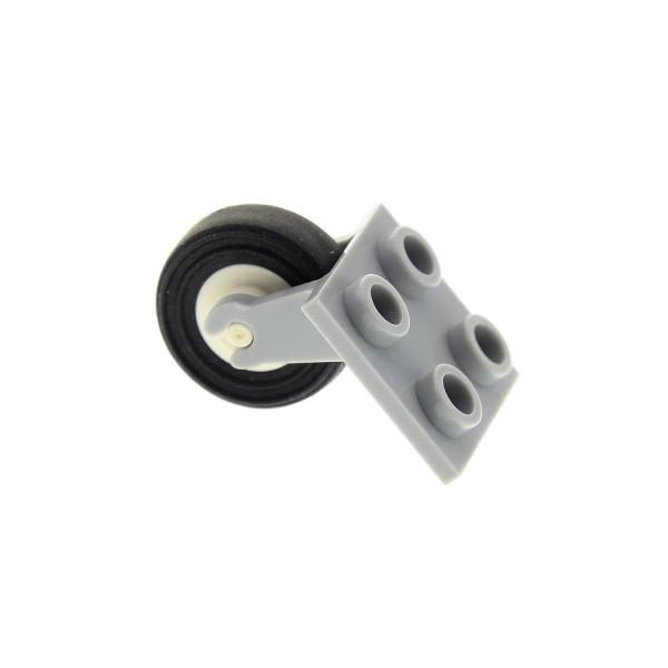 1 x Lego System Rad Achse neu-hell grau 2x2 mit Rad weiss Reifen schwarz glatt für Flugzeug 3464 3139 2415c02