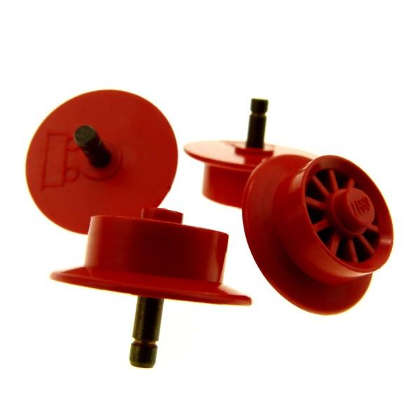 4 x Lego System Eisenbahn Rad old rot für Waggon Speichen Felge solo 4,5 12 v Lok Zug Train Pin Metall gelb wheel2b