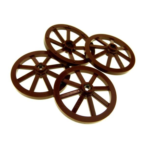 4 x Lego System Wagenrad groß reddish rot braun 33mm D. Wagen Speiche Pin Halter mit Achs Loch Rad Räder Burg Castle Kutsche 4211279 4489b