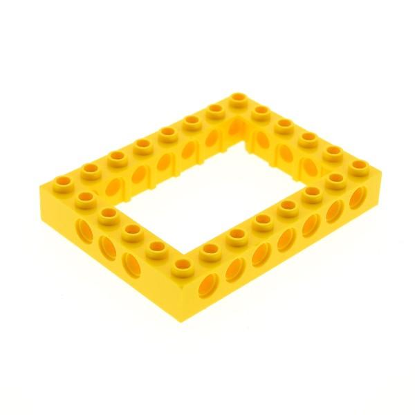 1 x Lego Technic Bau Rahmen Stein gelb 6x8 Lochstein Technik Unterseite Kreuz Set 9762 8275 7249 7344 4162899 40345 32532