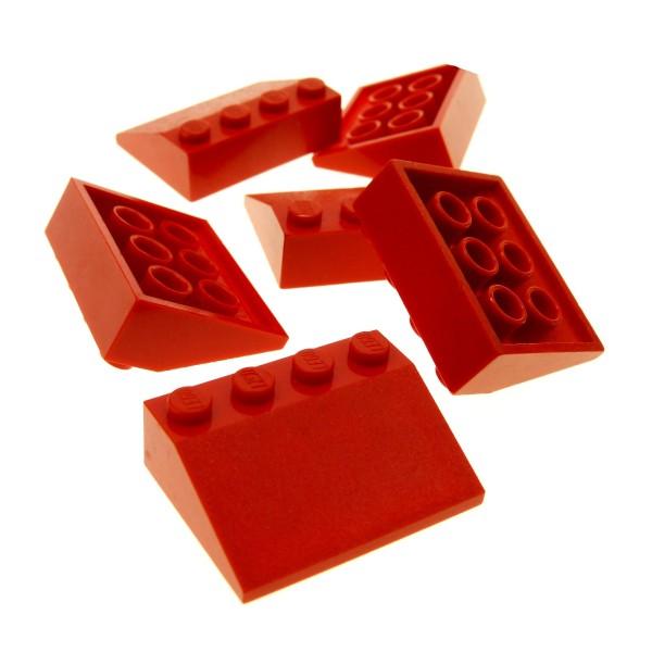 6 x Lego System Dachstein rot 33° 3 x 4 Dachziegel schräg Steine 3297