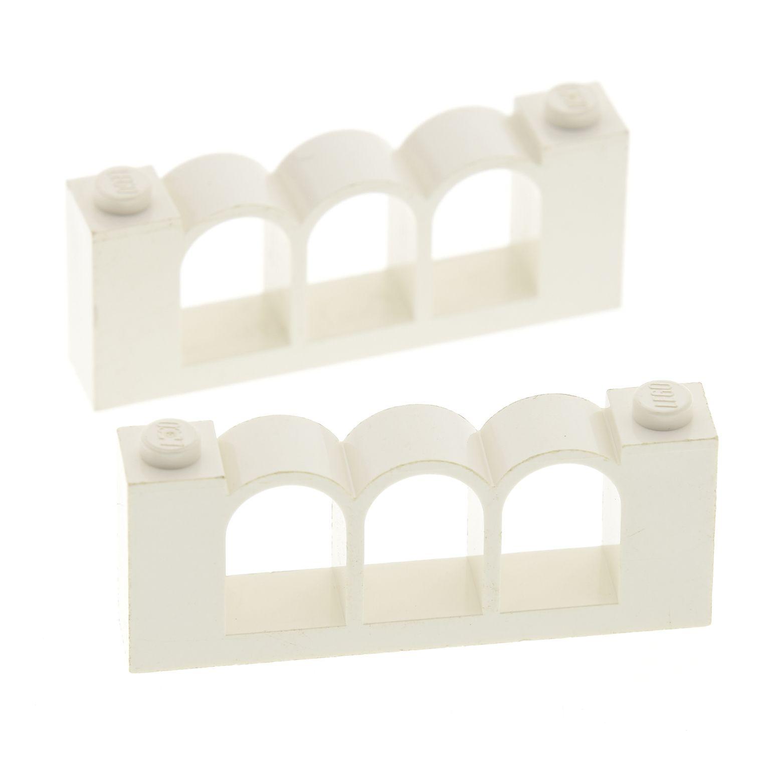 2x Lego Bogenstein gelb 1x6x2 Bögen rund Brücke Burg Castle Arch 30077