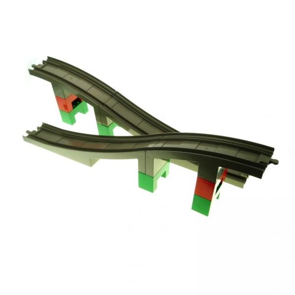 1x Lego Duplo Eisenbahn Zug Brücke Schiene alt-dunkel grau groß Steine grün rot 6392 6393 6394