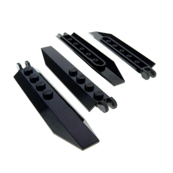 4 x Lego System Flügel Platte schwarz 1x8 Propeller Rotoren Klappe Scharnier abgewinkelten Seiten Star Wars Triebwerk Klappen Set 75040 76052 75046 4192456 30407