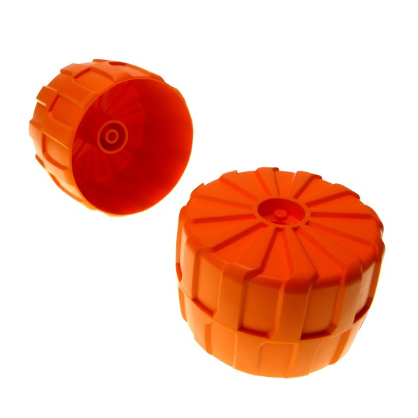 2 x Lego Technic Rad orange 71mm D. x 47mm groß hart Plastik Space Mars Mission Technik 2573