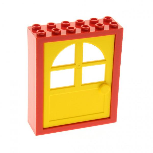 1 x Lego System Freestyle Haustür Rahmen rot 2x6x6 Tür Blatt gelb 1x6x6 mit Fenster Haus 600 6235c02