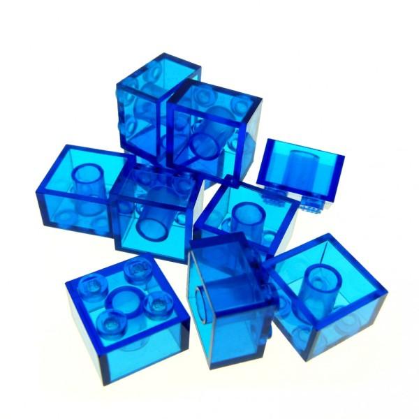 10 x Lego System Glas Stein transparent dunkel blau 2 x 2 Baustein Basic Glasstein 3003
