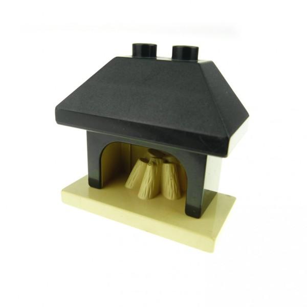 1 x Lego Duplo Möbel Kamin schwarz beige Ofen Puppenhaus Spielhaus Wohnzimmer Fireplace 4918c01