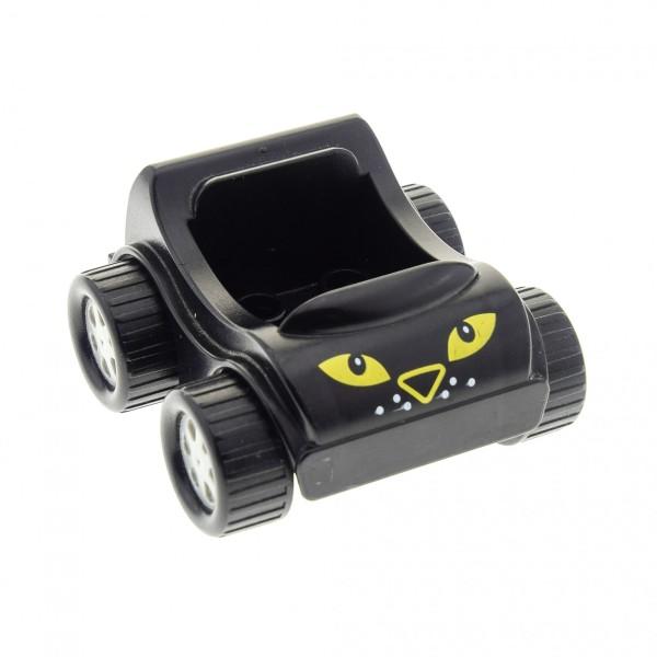 1 x Lego Duplo Go-Kart schwarz mit Katzen Augen Tiger Auto PKW Fahrzeug 31363pb07