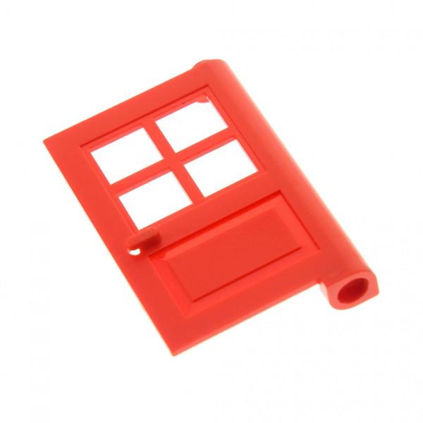 1 x Lego System Tür Blatt rot 1x4x5 Türen Haus mit Fenster Kreuz (Noppe zu) für Set 10014 374 9353 4954 6364 6383 3861