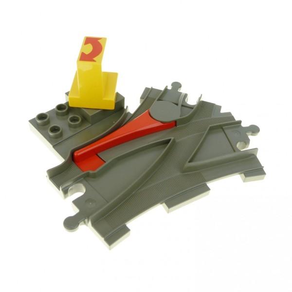 1 x Lego Duplo Weiche alt-dunkel grau mit Stell Dreh Stein Schalter gelb rot Pfeil Schiene Lok Eisenbahn 6442pb01 6379c01