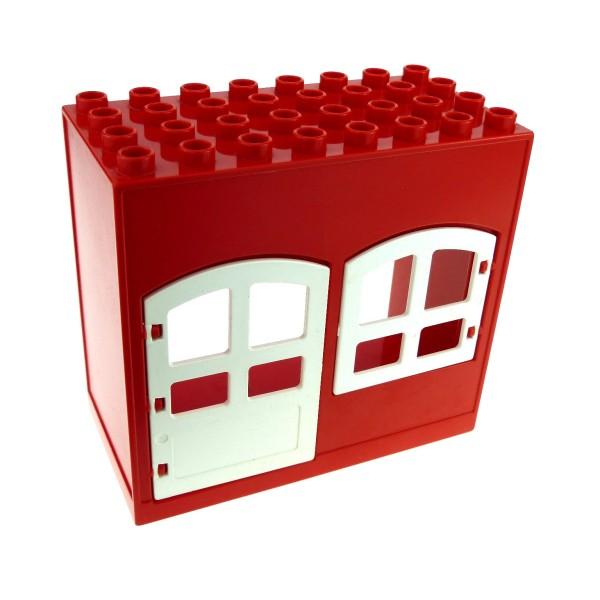 1 x Lego Duplo Gebäude Haus rot weiss 4x8x6 schmal Zimmer Tür Tor Fenster Puppenhaus 31023 31022 6431