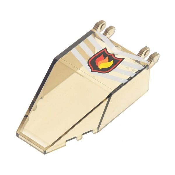 1 x Lego System Cockpit transparent schwarz 7x4x1 2/3 Sticker mit Feuer Logo Kanzel Kuppel Fenster Set 7238 30372pb01