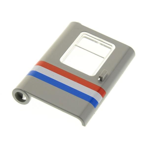 1 x Lego System Tür Blatt alt-hell grau 1 x 4 x 5 links mit Streifen rot weiß blau Zug Eisenbahn Waggon mit Fenster Scheibe transparent weiss 4547 4558 10001 10002 4183 4181p04
