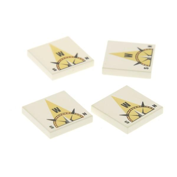 4 x Lego System Fliese weiss 2x2 bedruckt W Himmels Richtung Westen beige Steinefür Set Kompass Würfel Spiel Atlantis 3851 4594308 3068bpb0357