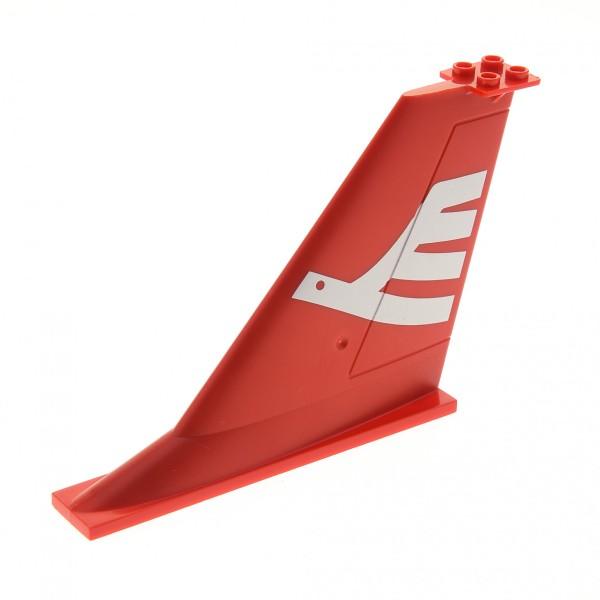 1 x Lego System Heck Leitwerk rot 14x2x8 mit Fluggesellschaft Vogel weiss Flosse Flugzeug Airline Bird für Set 7894 3182 7894 4289320 54094pb01