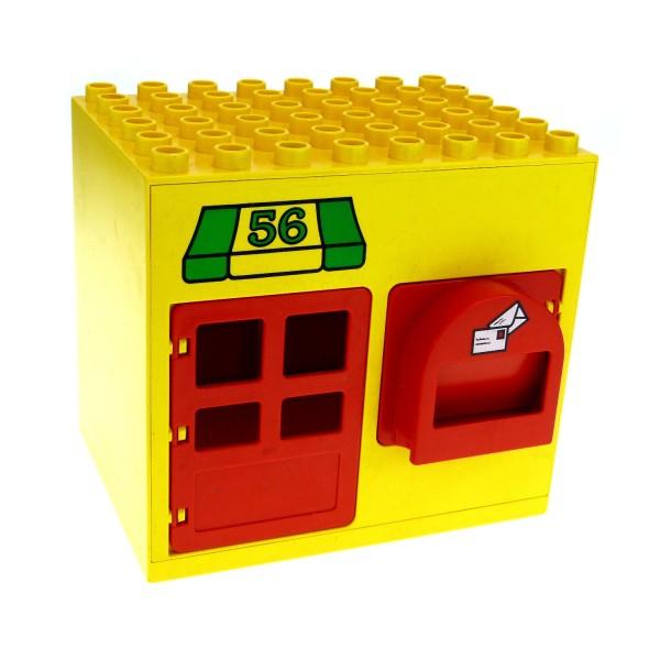 1 x Lego Duplo Gebäude Post Amt gelb rot 6x8x6 gross mit Nr. 56 Haus Laden Puppenhaus mit Fenster Tür Tor 2230pb02c01 2205 2204pb02