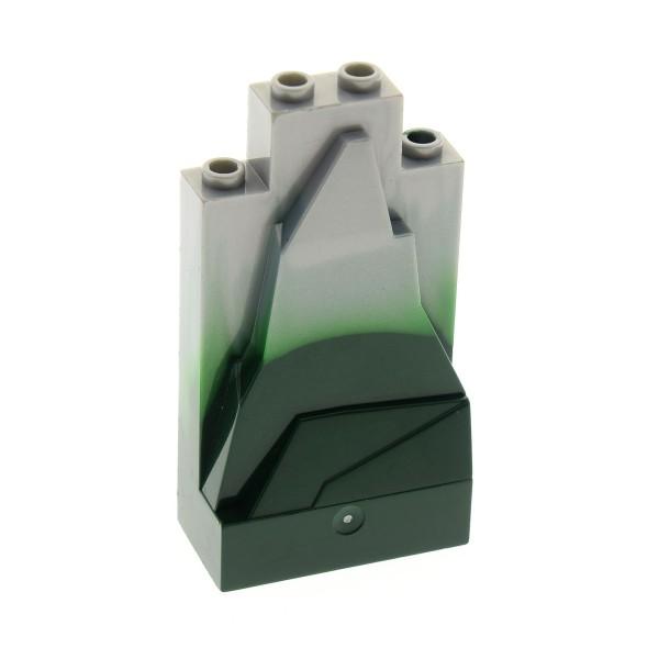 1 x Lego System Fels perl hell grau 2x4x6 dunkel grün marmoriert Typ I Felsen Stein Wand Berg klein Burg Castle Set 8822 8823 8813 4498052 47847pb003U