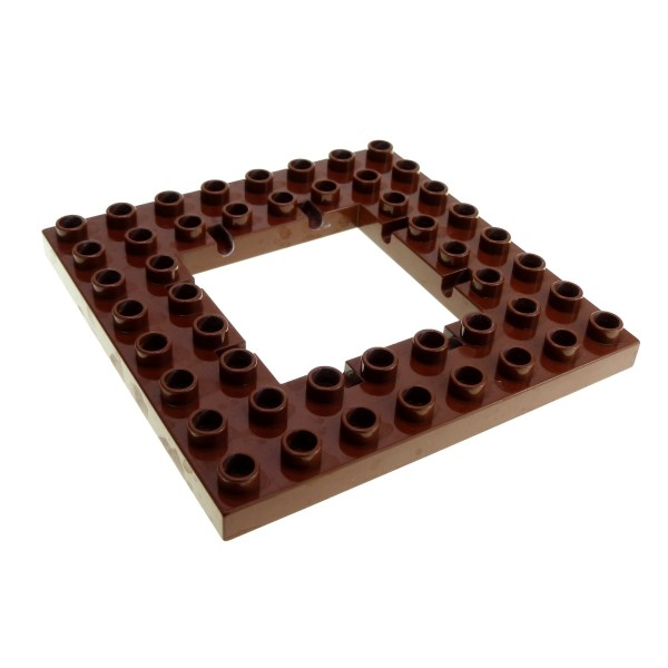 1 x Lego Duplo Bau Platte reddish rot braun 8x8 Noppen Öffnung für Falltür Burg 4249078 51705