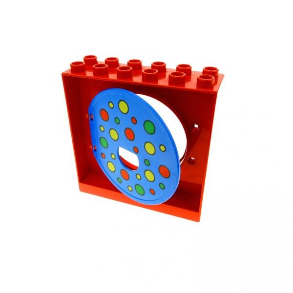 1 x Lego Duplo Kugelbahn Halter 2x6x5 rot Tür Tor Klappe blau und bunte Kreise Punkte Röhre 31193pb07 4114703 31191