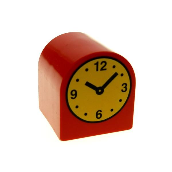 1 x Lego Duplo Möbel Uhr rot 2x2x2 Rund Stein mit Zeiger Aufdruck Puppenhaus Wohnzimmer Schlafzimmer 3664pb12