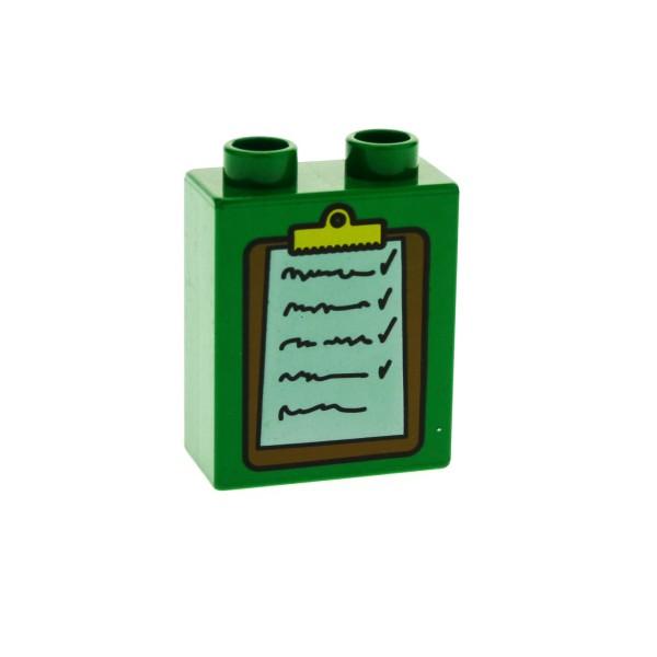 1 x Lego Duplo Motivstein grün 1x2x2 bedruckt Klemmbrett Notiz Bild Bau Stein 4066pb113