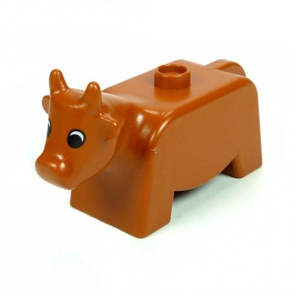 1 x Lego Duplo Tier Kuh braun dunkel orange Bulle Bauernhof Zoo Zirkus Rind 4010pb01