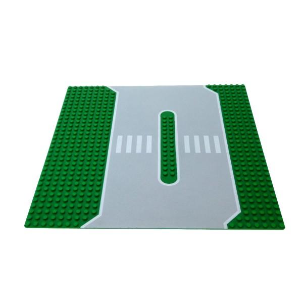 1 x Lego System Bau Platte Straßen grün grau 32x32 Noppen Straße Gehweg Zebrastreifen Verkehrsinsel 2364 309px1