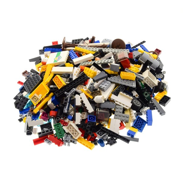 1 Kg Lego System Bau Basic Steine ca. 600 - 700 Teile Kiloware mit Sonderteilen bunt gemischt z.B. Räder Platten Fenster