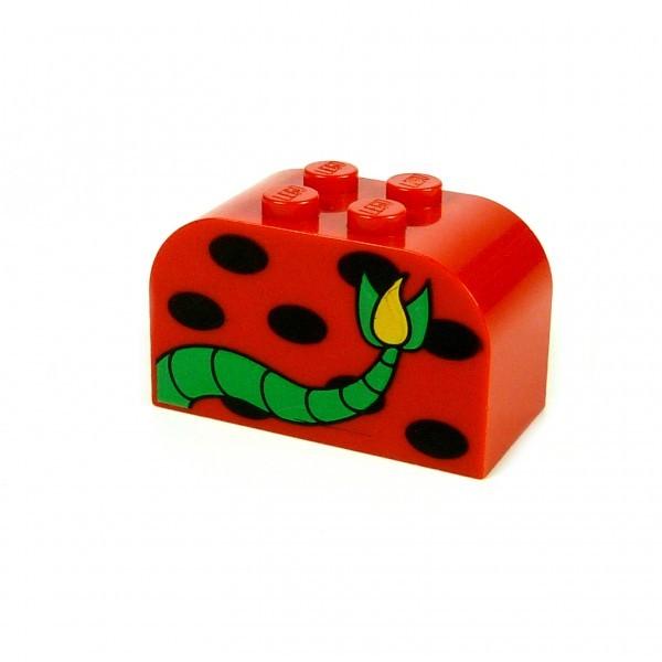 1 x Lego System Rundstein rot 2x4x2 Körper Figur Stein halbrund bedruckt Schwanz Monster Schlange Liane Motivstein 4744px24