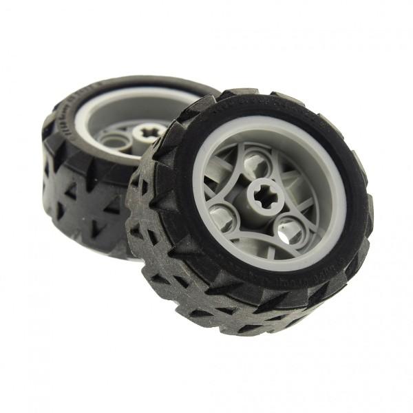 2 x Lego Technic Rad schwarz 43.2x22 H Felge alt-hell grau 30.4mm D. x 20mm Räder Technik Auto Fahrzeug 44308 44292c01