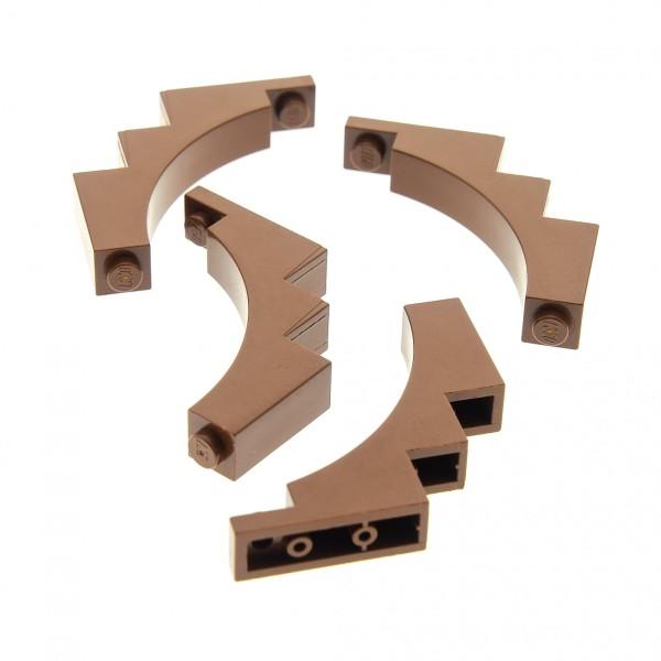 4 x Lego System Bogenstein braun 1 x 5 x 4 negativ invertiert halb Bögen rund Bogen Brücke Burg Tor Castle Arch 30099