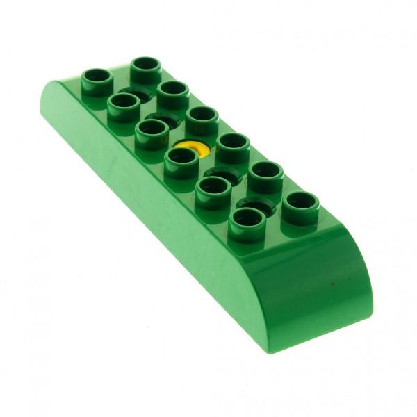 1 x Lego Duplo Toolo Bau Stein grün 2x8 oben an den Seiten abgerundet Curved Tops 6671c01