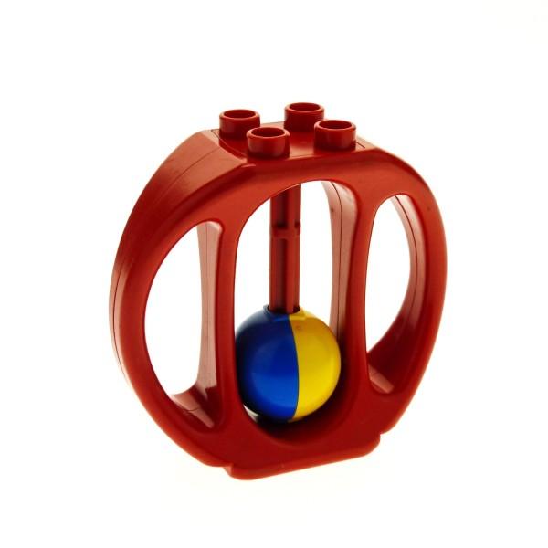 1 x Lego Duplo Primo Rassel rot Baby Klapper Ball blau gelb Baustein ( Steg gerade ) bab010