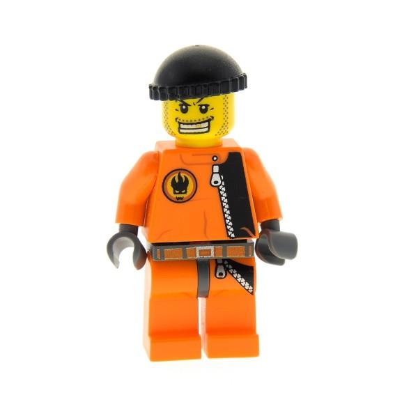 1 x Lego System Figur Mann Agents Henchman Handlanger Torso orange Logo Grinsen Mütze schwarz 8630 8634 973pb0486c01 agt008