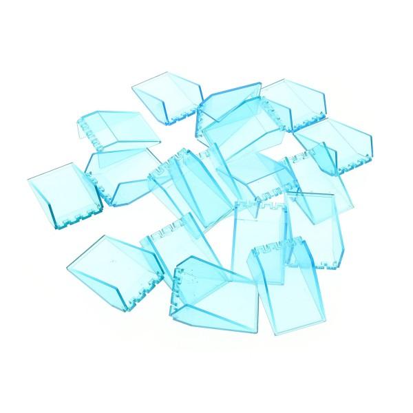 18 x Lego System Windschutzscheibe B-Ware Set abgenutzt transparent hell blau 6x4x2 Auto Space Star Wars Kanzel Cockpit Kuppel Fenster 4474