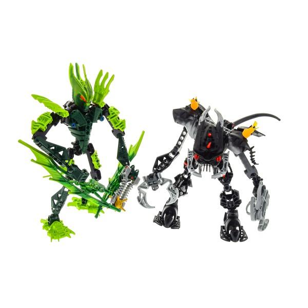 2 x Lego Bionicle Figuren Set Modell Technic Glatorian 8980 Gresh Barraki 8919 Mantax grün schwarz incomplete unvollständig