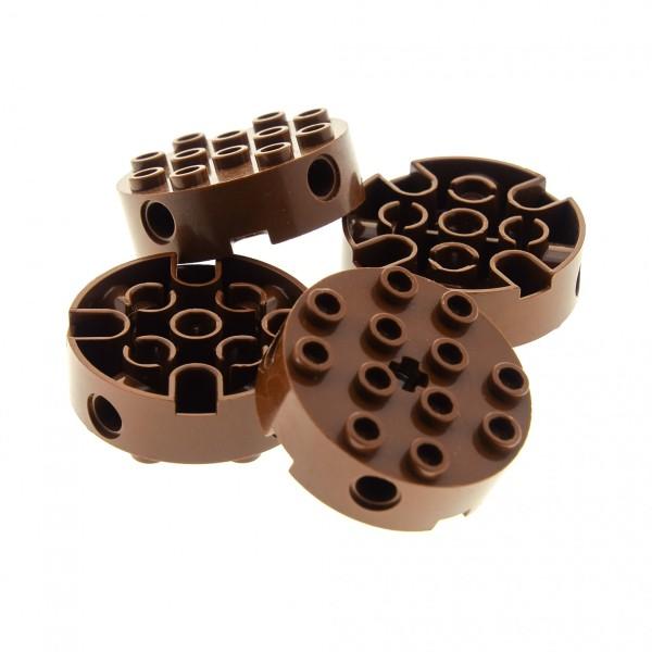 4 x Lego System Technic Rund Stein reddish rot braun 4x4 mit Achs Loch Rad rund Scheibe 4223681 6222