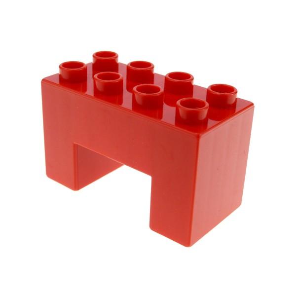 1 x Lego Duplo Brücken Bau Stein rot 2x4x2 mit 2x2 Ausschnitt 8er Noppen Thomas Eisenbahn Baustelle Zoo Farm 6394