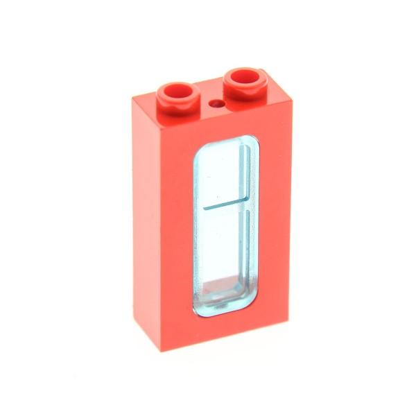 1 x Lego System Fenster Rahmen rot 1x2x3 mit Scheibe transparent hell blau mit Stein 1x2 Zug Eisenbahn Waggon Lok 4035 4036