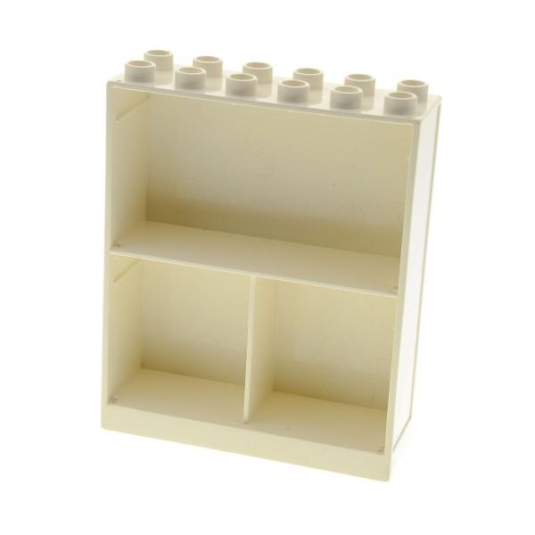 1 x Lego Duplo Möbel B-Ware abgenutzt Schrank Regal Wand creme weiss 2x6x6 mit 3 Fächern Hauswand Zimmer Puppenhaus 6461