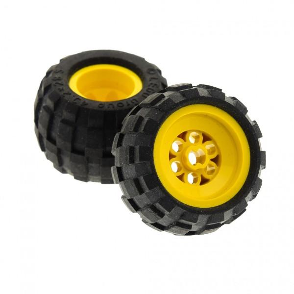 2 x Lego Technic Rad schwarz 43.2x28 S Räder Felge gelb 43.2 x 28 Ballon small Reifen komplett Auto LKW Technik 6579 6580c01