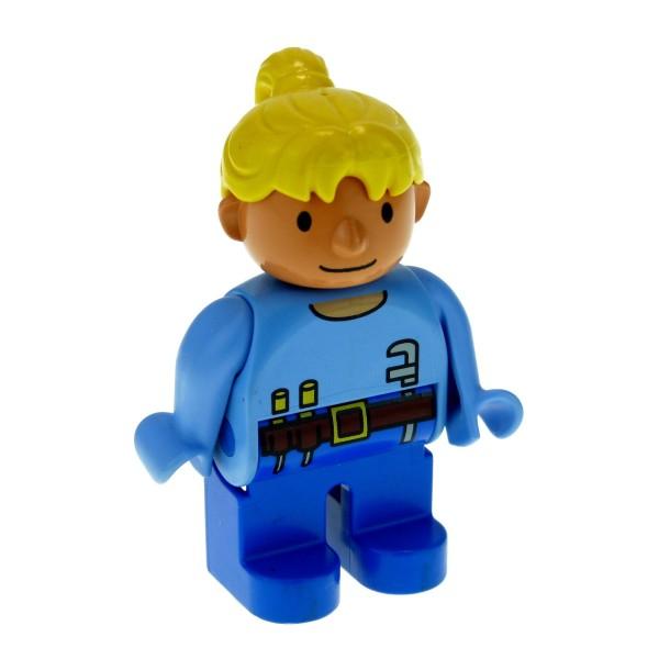 1 x Lego Duplo Figur Frau Wendy Hose dunkel blau Top hell blau mit Werkzeug Haare gelb blond Bob der Baumeister 4555pb134