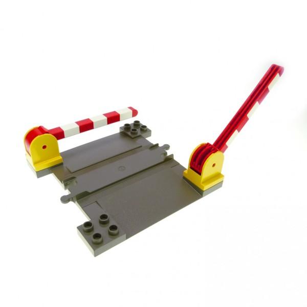 alt grau Lego ® Duplo  Eisenbahn  Bahnübergang mit 2 Schranken