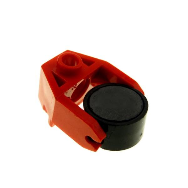 1 x Lego System Magnet schwarz rot 2x3 im Zylinder mit Magnethalterung Eisenbahn Zug Magnetstein 73092 2607